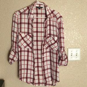 ExpressPlaidOversized PocketFlannel BoyfriendShirt